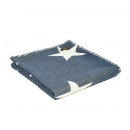 Stitched Cotton Throw - Stars in Navy & White