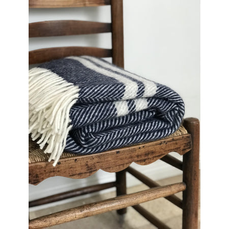 Bespoke Fishbone Throw Rug - Navy with White Stripe