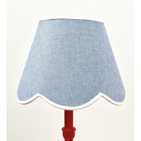 Scalloped Lampshade - Blue Linen with Trim