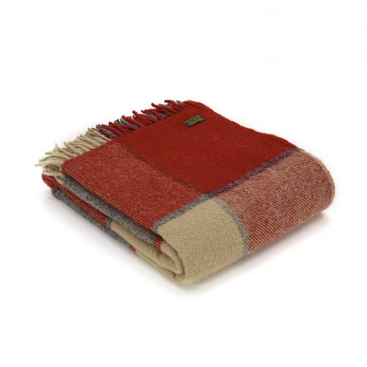 Block Check Throw Rug - Red and Slate