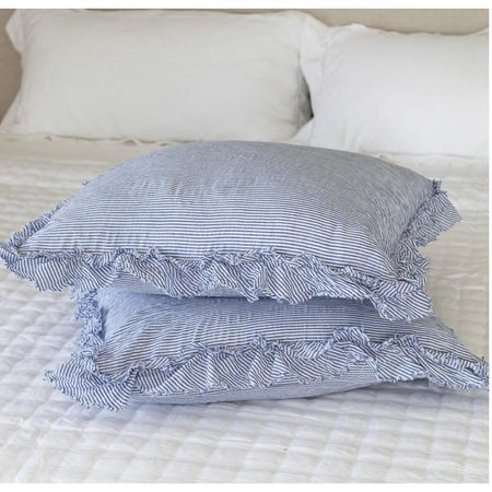Ruffled Edge Pillowcase - Blue and White Stripe