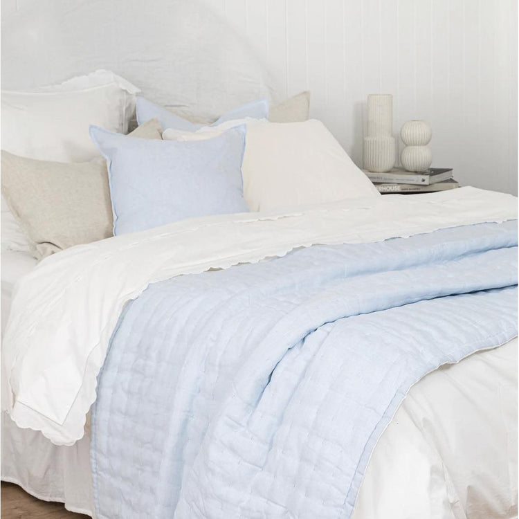 Quilted Throw - Blue & White Linen