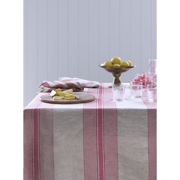Rose Pink Country Stripe - Tablecloth & Napkin Set