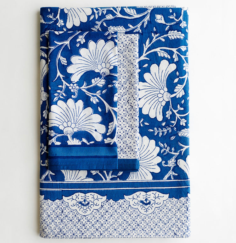 Amara Indigo - Tablecloth and Napkin Set