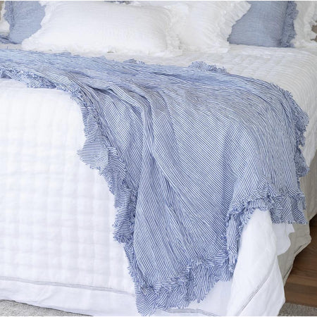Ruffled Edge Throw - Blue and White Stripe