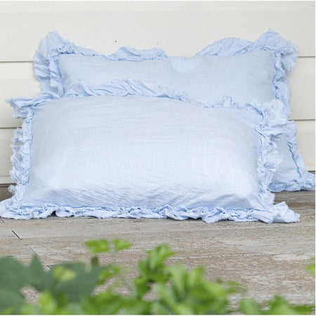 Ruffled Edge Pillowcase - Pale Blue Linen