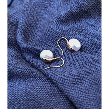 Freshwater Pearl Earrings ~ Rose Gold