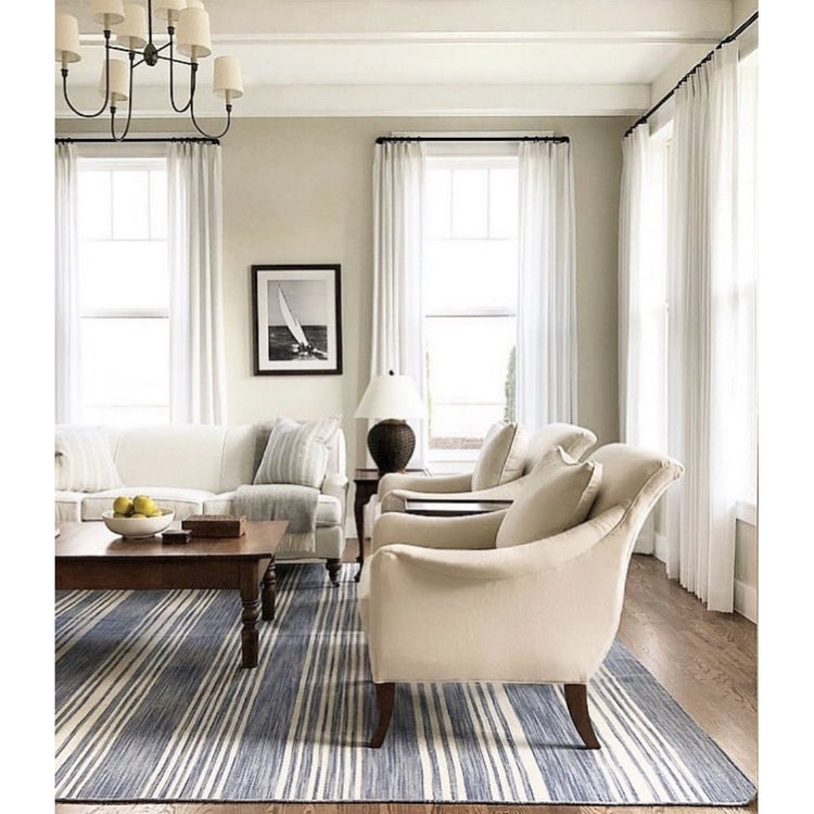 Cottage Stripe French Blue - Woven Wool Rug
