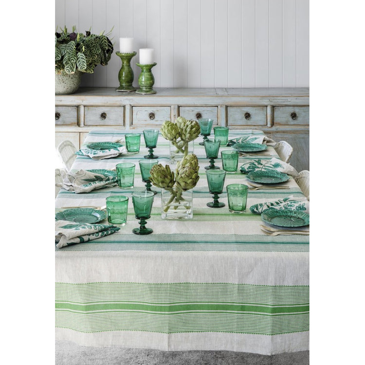 Green Country Stripe - Tablecloth & Napkin Set