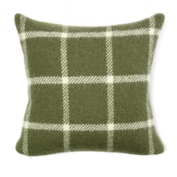 Chequered Check Woollen Cushion - Olive