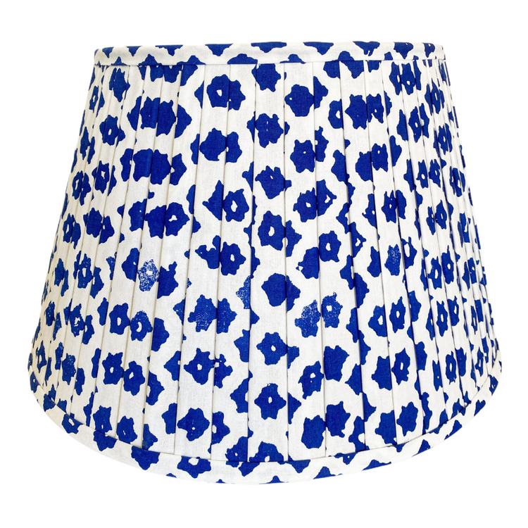 Gathered Lampshade - Blue & White Lattice