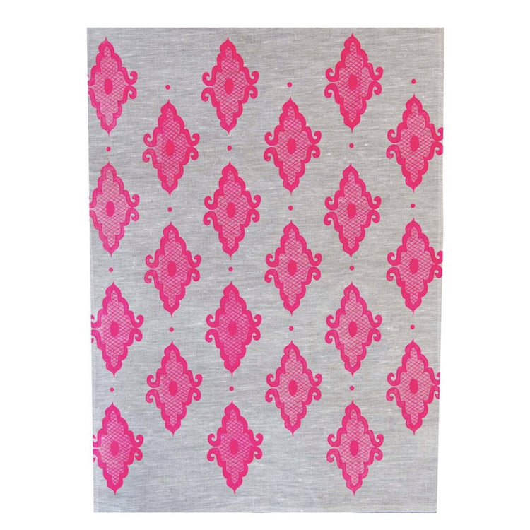 Arabesque Linen Tea Towel - Neon Pink