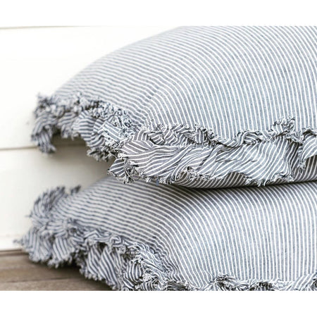 Ruffled Edge Pillowcase - Charcoal and White Stripe