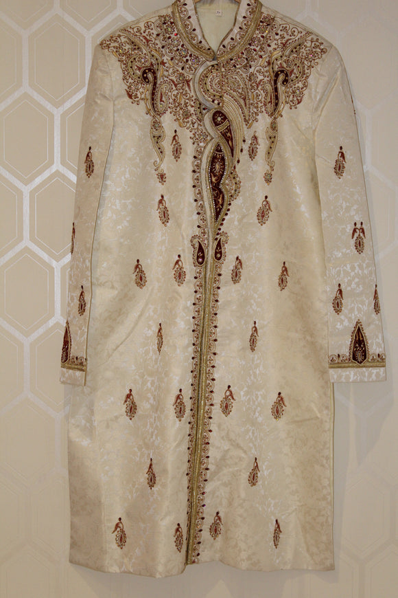 White, Maroon and Gold Sherwani