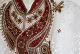 White Sherwani with Red Embriodery