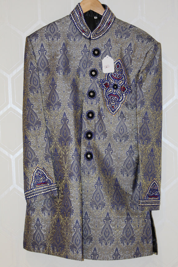 Grey and Blue Sherwani