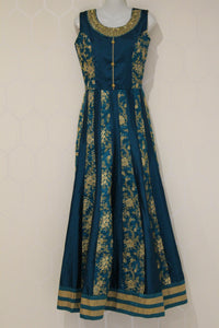 Blue Floral Threaded Lehenga