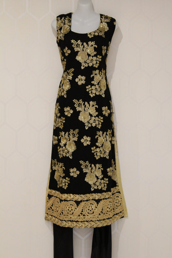 Black Floral Indian Suit with Gold Design