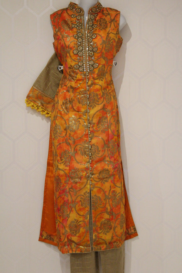 Orange Floral Design Suit