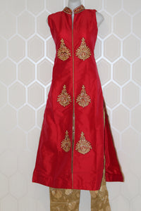 Red Suit With Gold Design