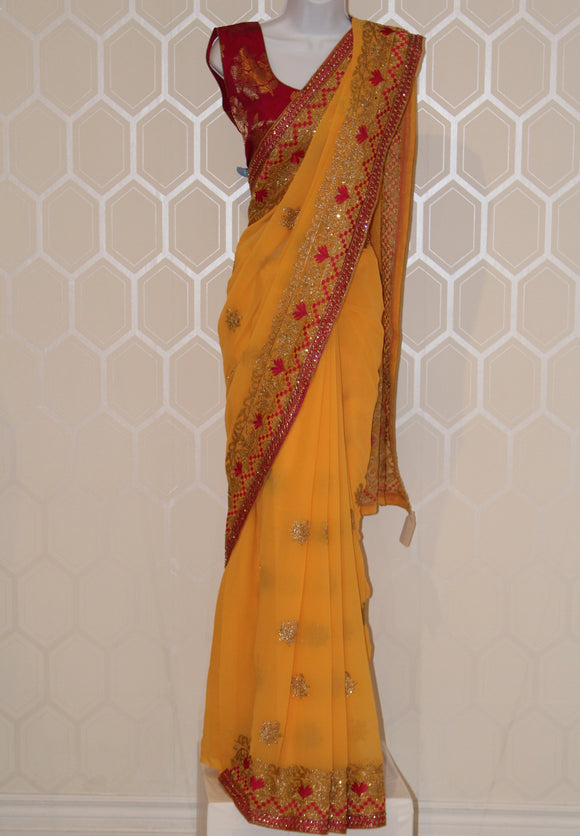 Magenta and Yellow Saree