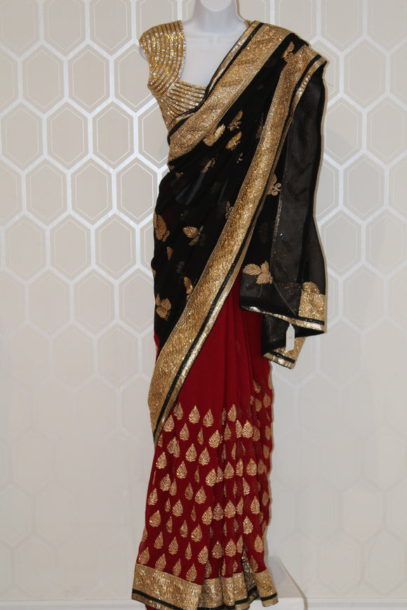 Black and Maroon Saree