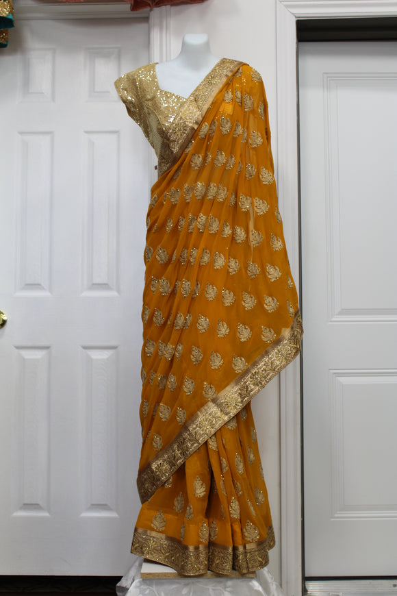 Beautiful Golden Embroided Yellow Saree