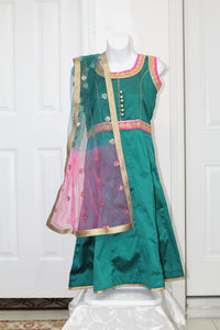 Simple-green pink lehengas for babies