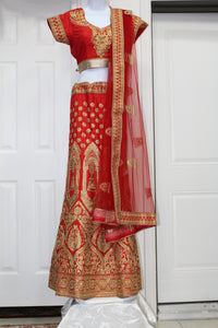 Bridal Red lehenga with heavy golden work