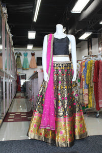 Most popular silk black lehenga with beautiful combination of colors