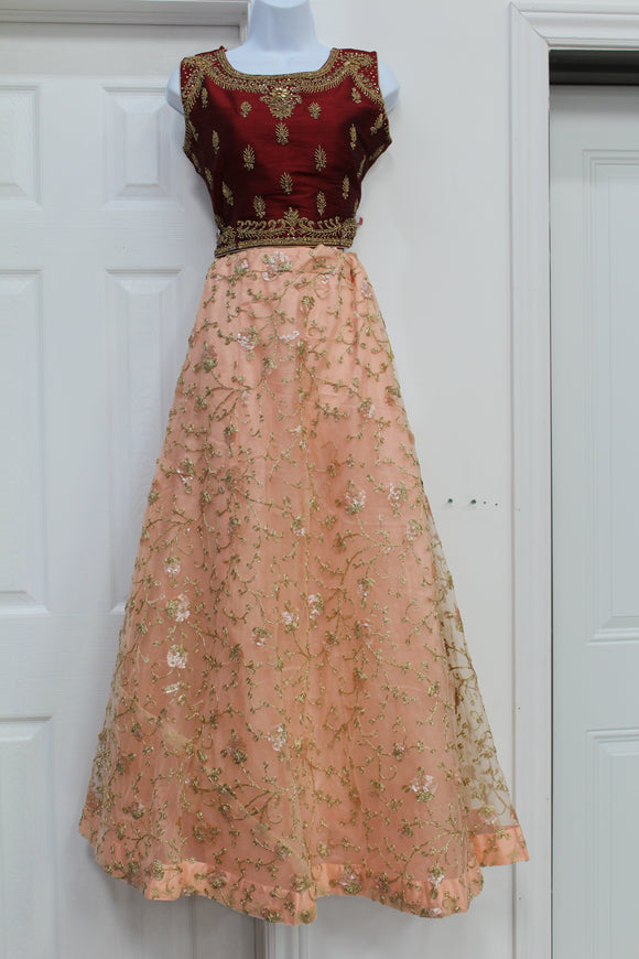 Differnt combination of peach and maroon lehenga