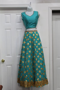 Beautiful sky blue color lehenga  with floral embridery