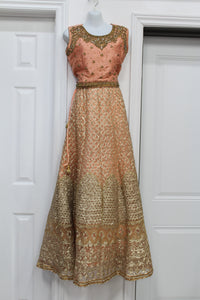 Very heavy peach lehenga with nice silver golden work