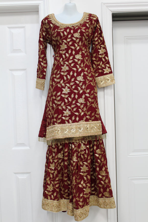 Heavy maroon lehenga on nice Georgette fabric