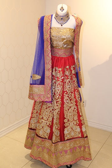 Red, Blue and Gold Lehenga