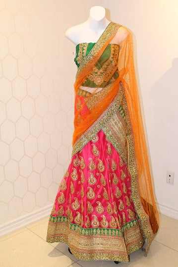 Green, Orange and Pink Lehenga