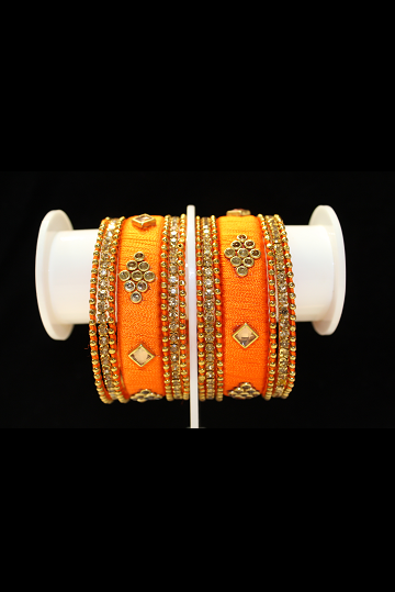 Silky Bright Orange Bangle Set