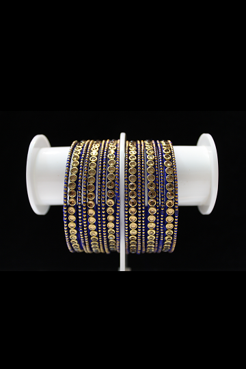 Royal Blue Kundan Bangle Set