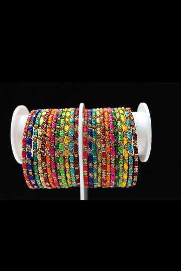 Multi-Color Silk Threaded Bangles