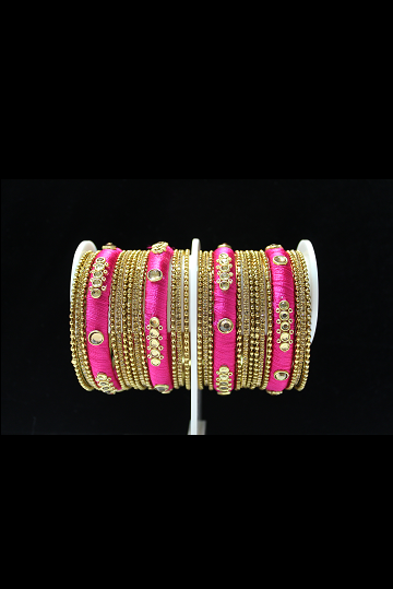 Silk Threaded Pink and Gold Bangles