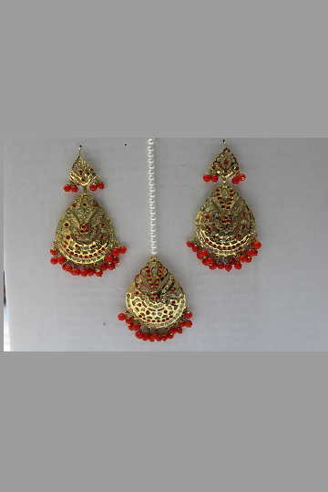Gold Plated Earrings and Tikka Set