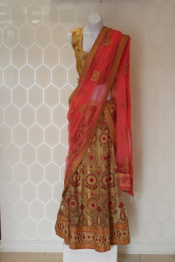 Gold and Pink Lehenga