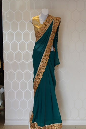 Green and Gold Georgette Saree