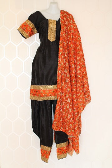 Black and Orange Phulkari Suit