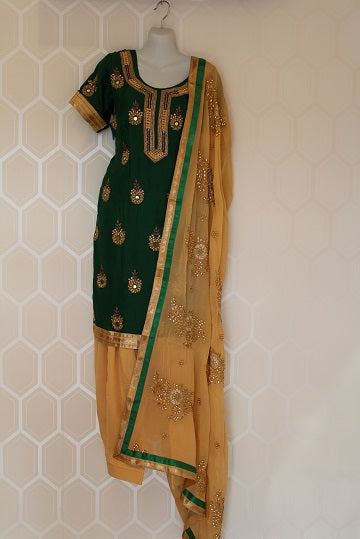 Green and Golden Salwar Suit