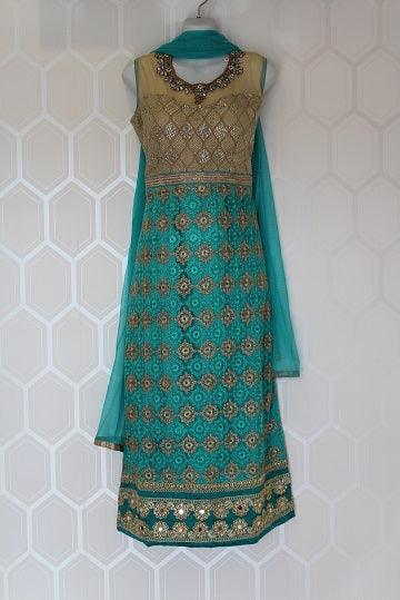 Long Turquoise Indian Suit