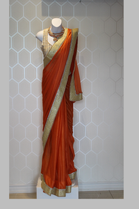 Sparkling Orange Saree
