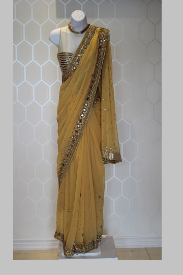 Yellow Saree With Mirror Work