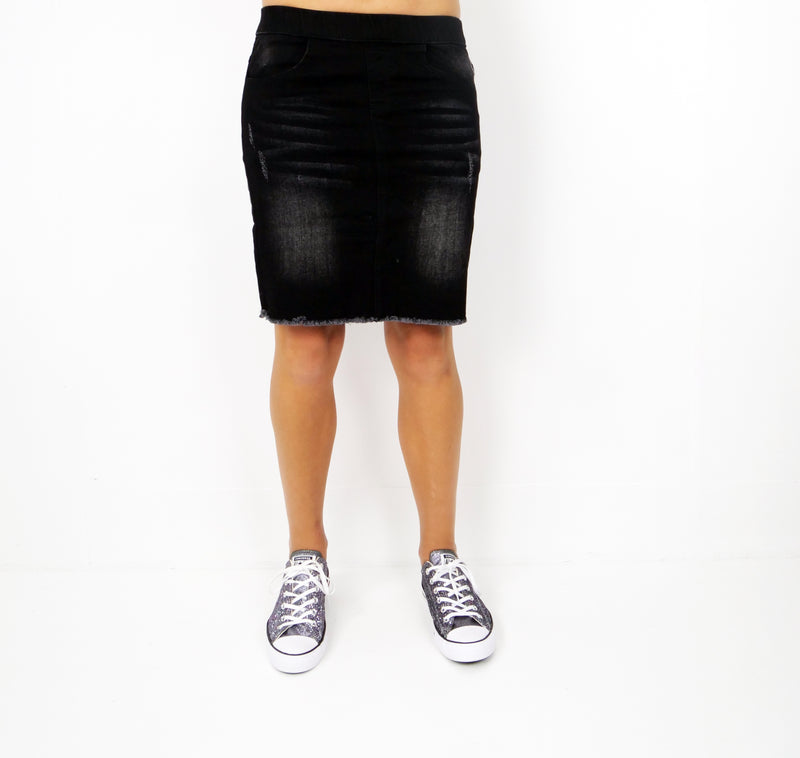 ETC Womens Denim Skirt - Knee Length - Black