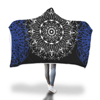 Hooded Blanket Black Blue